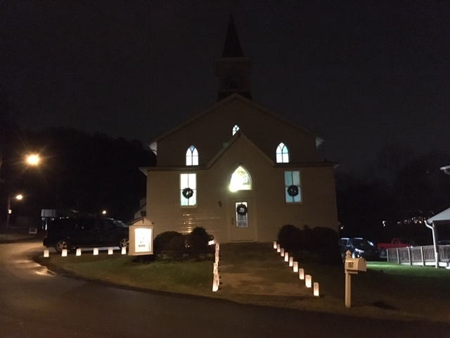 Kerr Church at Night with Candles