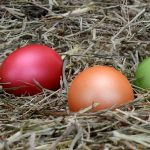 Easter Eggs placed in dried grass; image from pixabay
