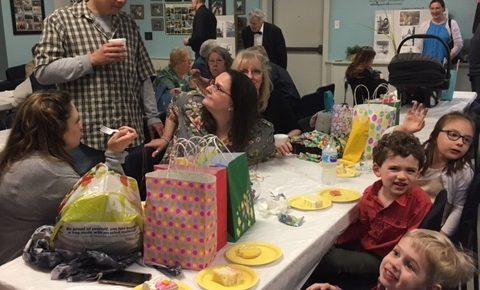 church gathering for Easter Egg Hunt