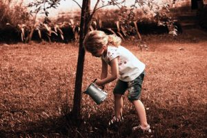 Girl watering a tree from Unsplash-Pedro Kummel