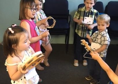 kids playing musical instruments at Kerr VBS 2018