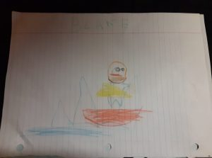 Kid drawing of Jesus calming the storm, Blake