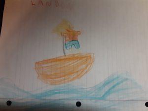 Kid drawing of Jesus calming the storm, Landon