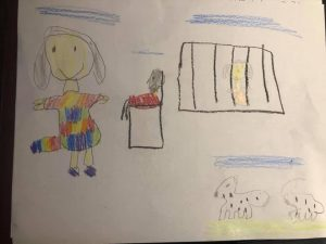kid drawing of the story of Joseph, by Maddy