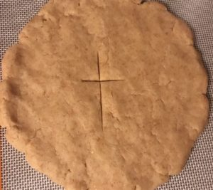 Communion bread, unleavened with cross