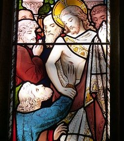 Stain glass window of doubting thomas from Pixabay