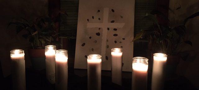 Good Friday arrangement of 7 candles, seven lit