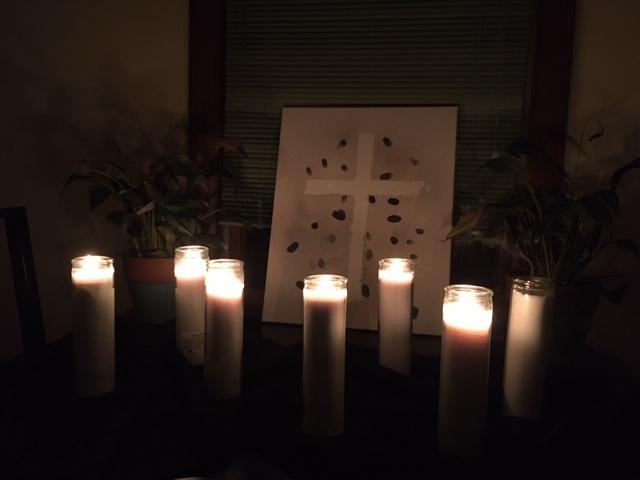 Good Friday arrangement of 7 candles, six lit