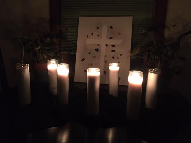 Good Friday arrangement of 7 candles, five lit