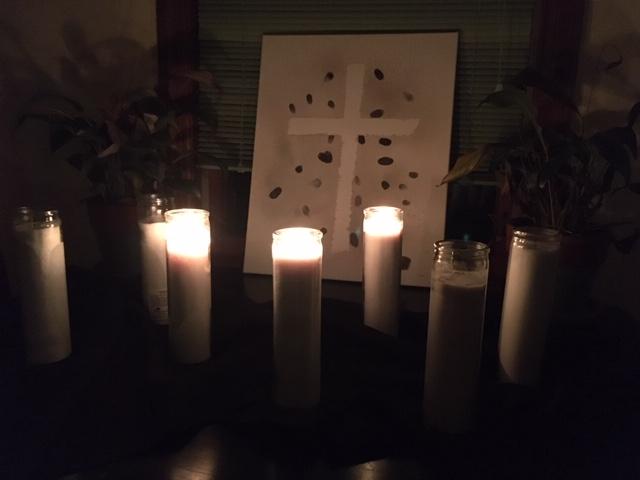 Good Friday arrangement of 7 candles, three lit
