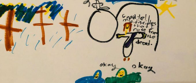 child's drawing of Good Friday and Easter