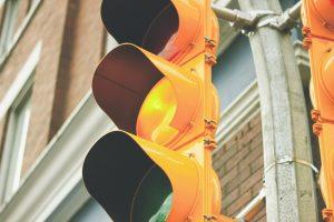 traffic light indicating yellow