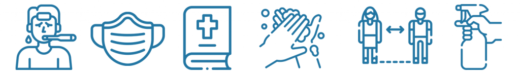 Icons depicting a person with a fever, a mask, a bible, washing your hands, social distancing, and cleaning
