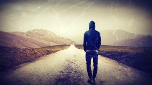 Prodigal Son walking down a road