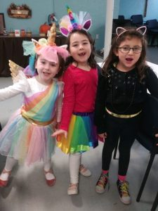 3 girls dressed for halloween