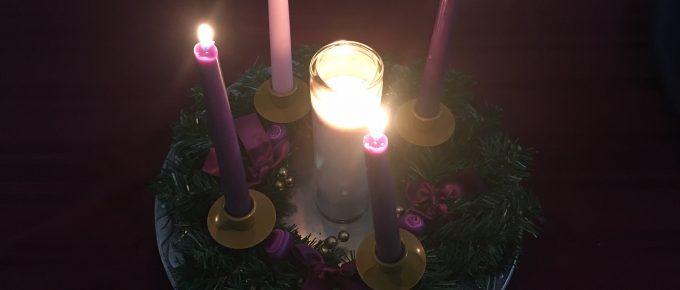 Lit Advent Candles