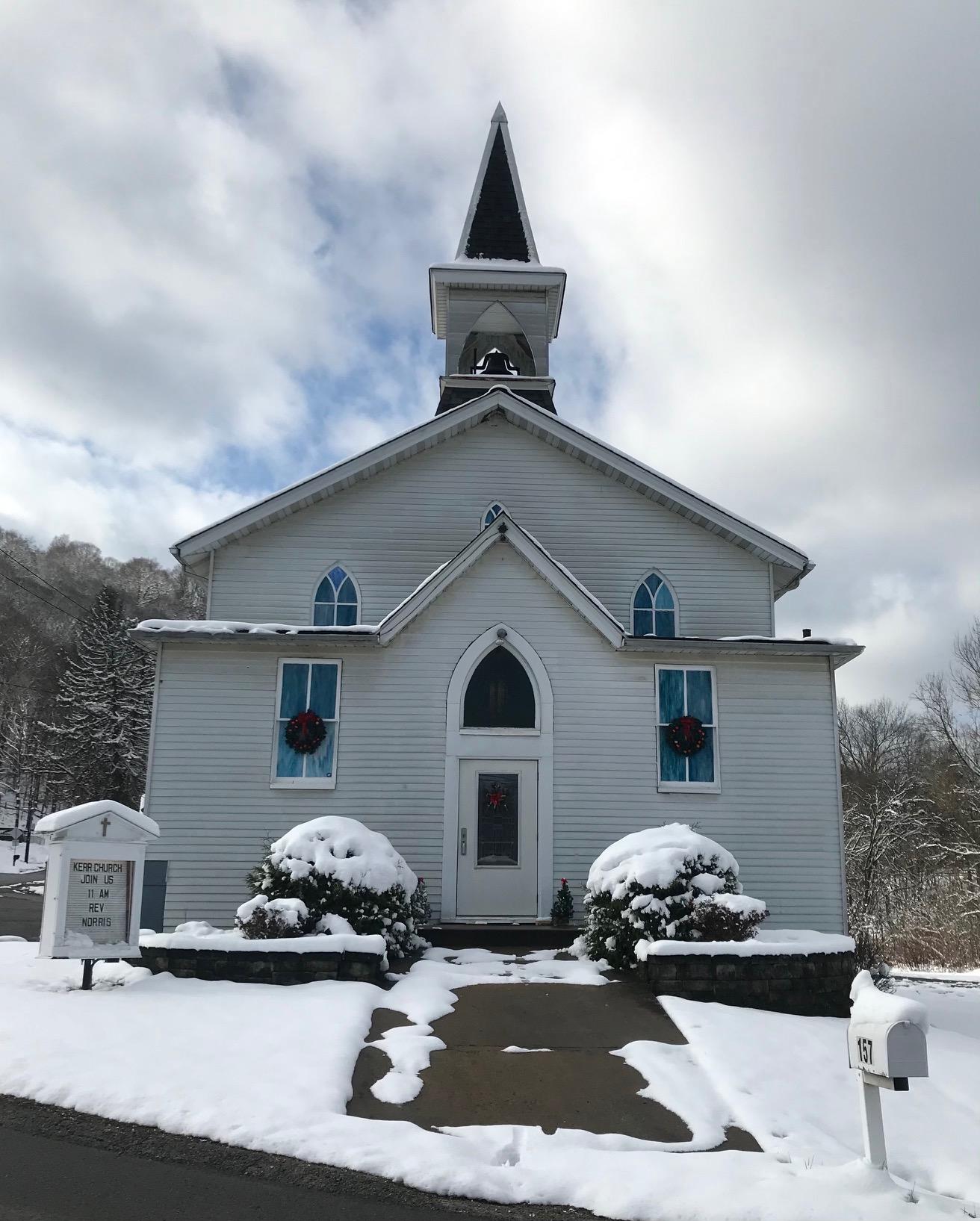 Kerr Presbyterian Church in the snow, Carrie Nery