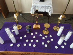 Candles set out for Lent