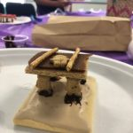 VBS kid snack craft of four teddy grams carrying another