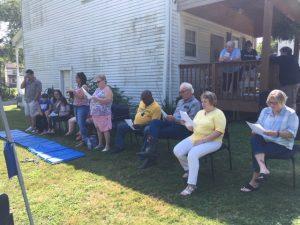 Adults at VBS worship service