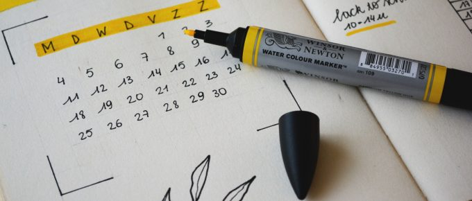 Calendar with highlighted dates